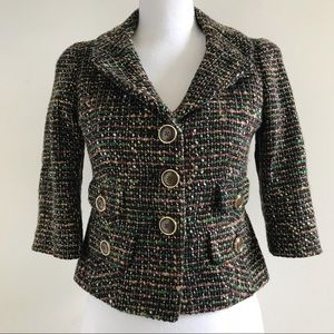 Loft Ann Taylor Womens Brown Black Blazer Jacket 0